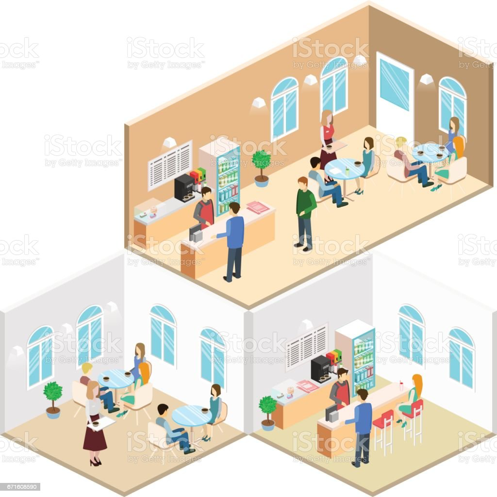 Isometric Interior Of Coffee Shop Flat 3d Isometric Design Interior Cafe Or Restaurant People Sit At Tables And Eat Stock Illustration Download Image Now Istock