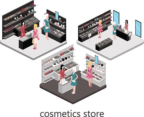 isometric interior of cosmetics shop - hausfarbpaletten stock-grafiken, -clipart, -cartoons und -symbole