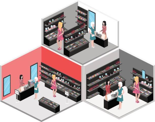 isometrische innere des kosmetik-shop - hausfarbpaletten stock-grafiken, -clipart, -cartoons und -symbole