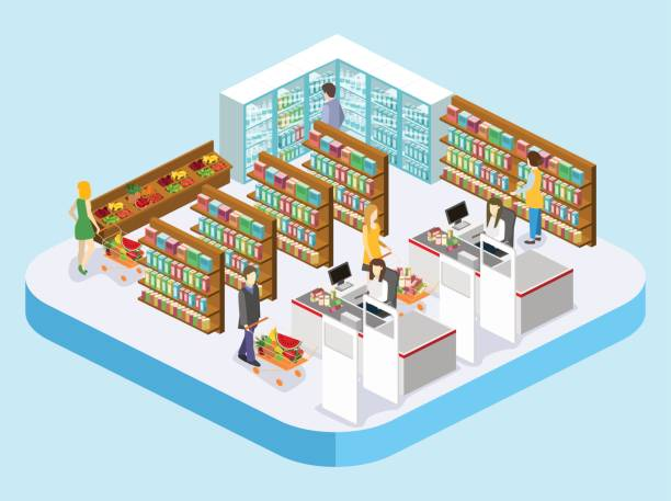 Isometric interior of grocery store. Isometric interior of grocery store. Shopping mall flat 3d isometric concept web vector illustration. grocery aisle stock illustrations