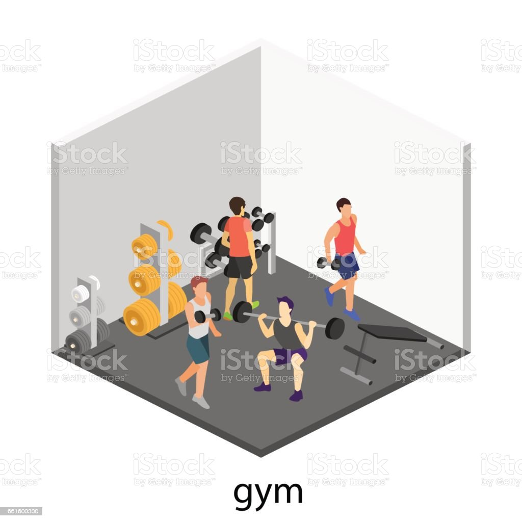Isometric Exercises Equipment: Isometric Interior Of Gym Stock Vector Art & More Images