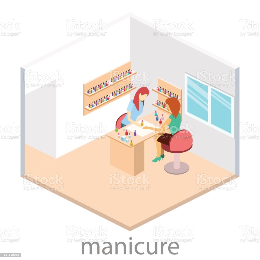 Isometric interior of nail salon stock vector art 661599056 istock isometric interior of nail salon royalty free stock vector art pooptronica Gallery