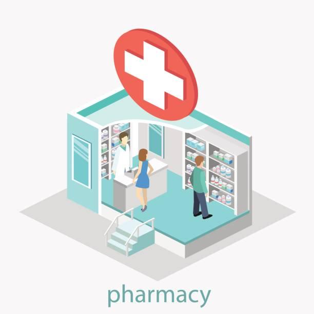 illustrazioni stock, clip art, cartoni animati e icone di tendenza di interno isometrico della farmacia - farmacia