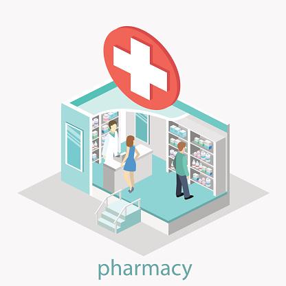 Isometric Interior Of Pharmacy - Immagini vettoriali stock e altre immagini di Adulto