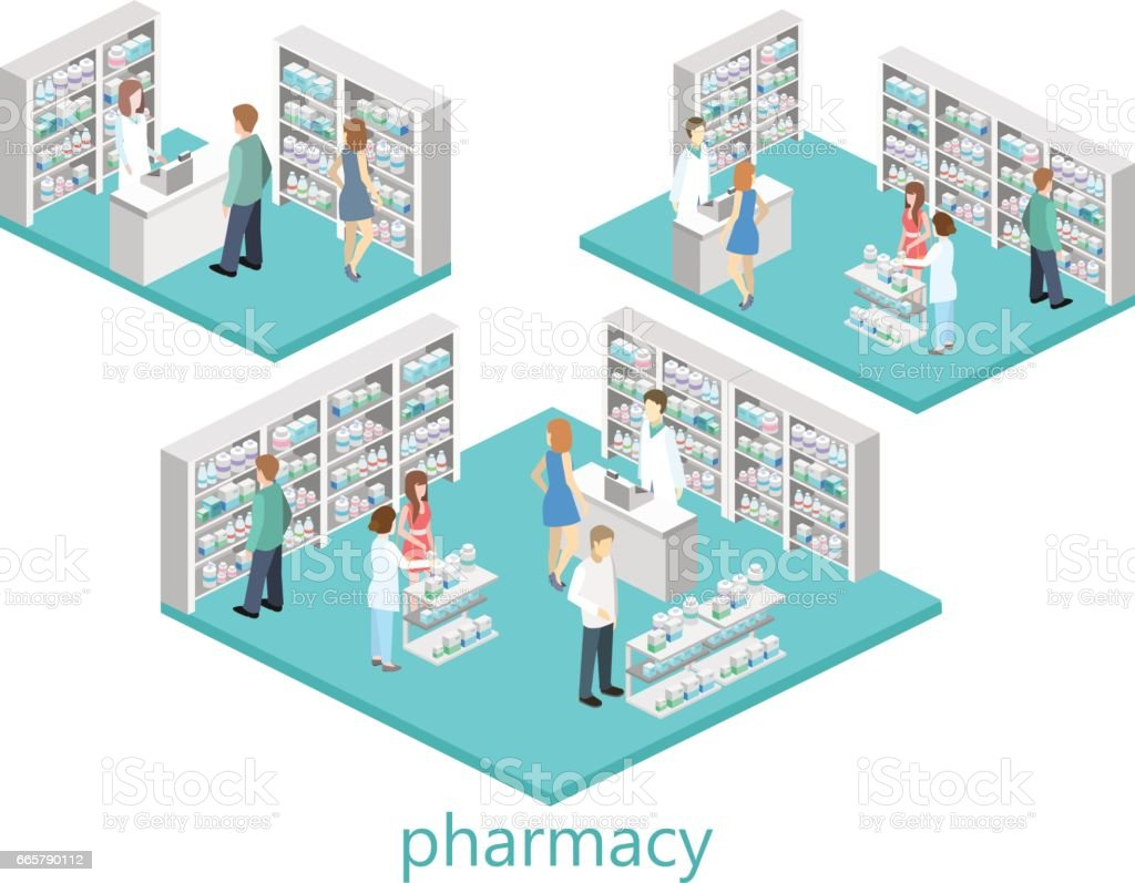 Isometric interior of pharmacy vector art illustration