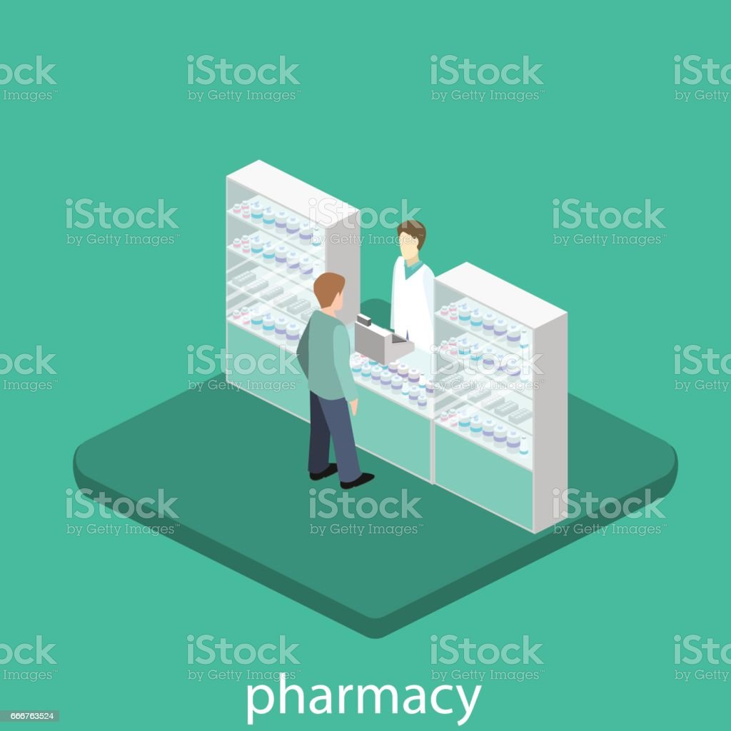 Isometric interior of pharmacy isometric interior of pharmacy - immagini vettoriali stock e altre immagini di adulto royalty-free