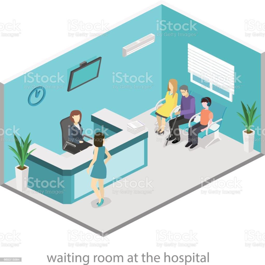 Isometric interior of reception. Flat 3D real illustration of waiting room vector art illustration