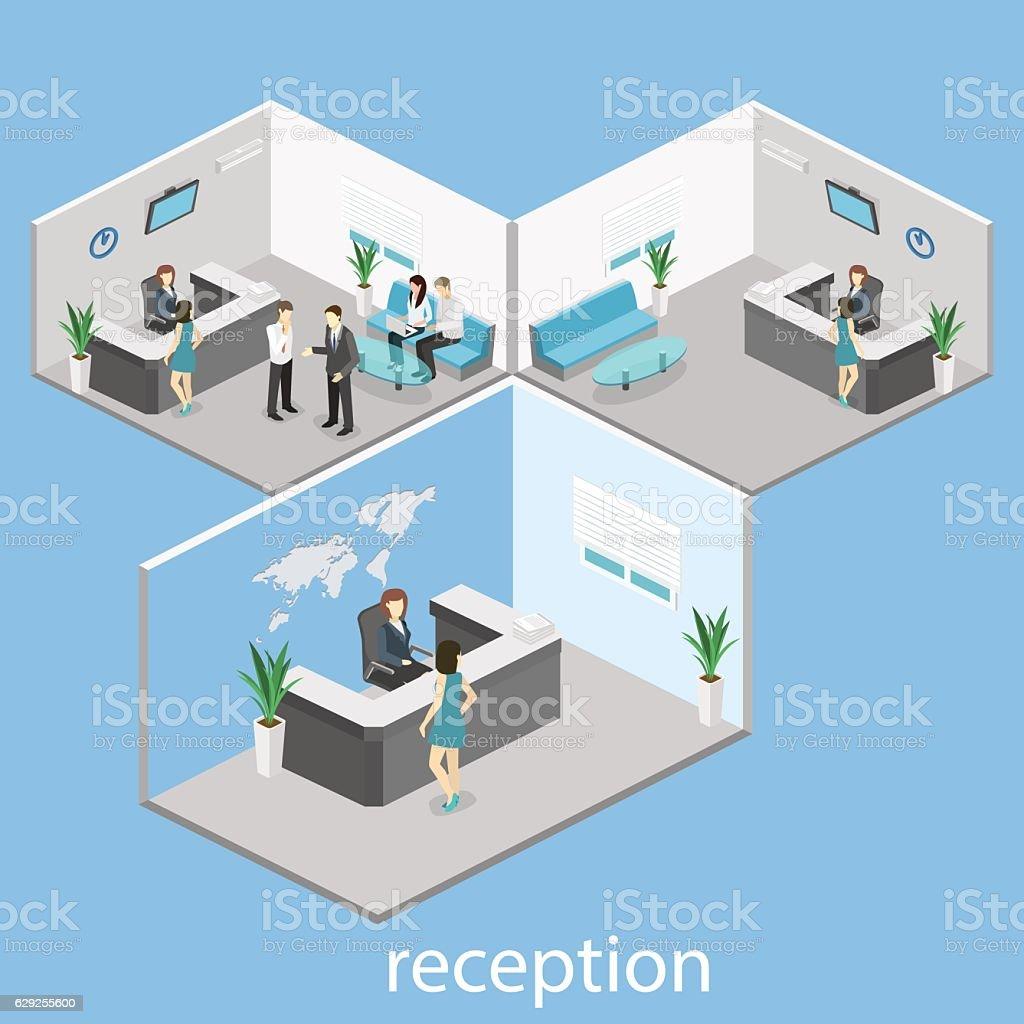 Isometric interior of reception. vector art illustration