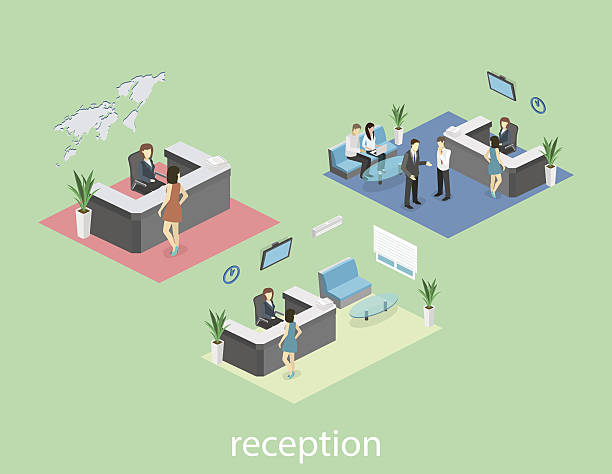 Isometric interior of reception. Isometric interior of reception. Flat 3D real illustration of waiting room police interview stock illustrations