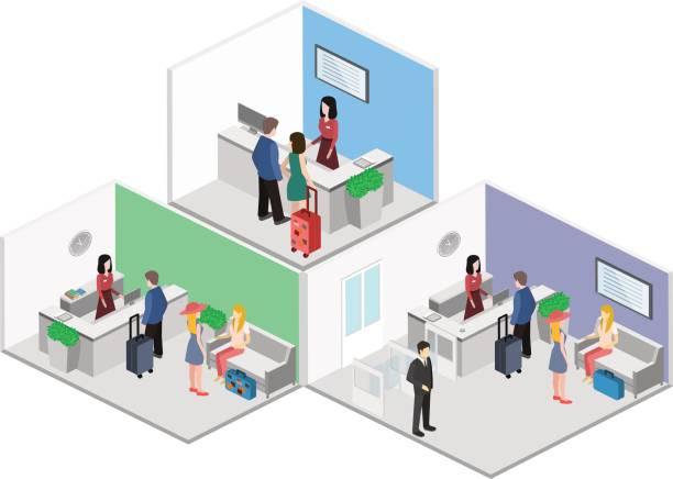 Isometric interior of reception. Isometric interior of reception. Flat 3D vector illustrationIsometric interior of reception. Flat 3D vector illustration police interview stock illustrations