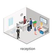 Isometric interior of reception.