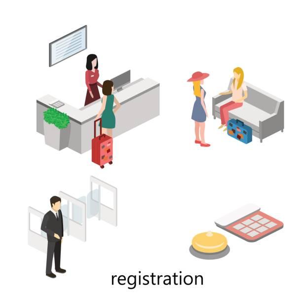 Isometric interior of reception. Isometric interior of reception. police interview stock illustrations