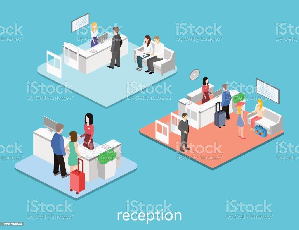 Interior isométrica de recepción. - ilustración de arte vectorial