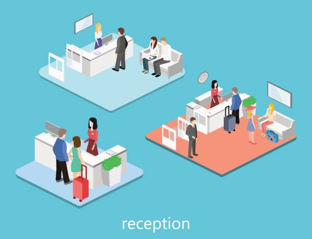 isometric interior of reception. - receptionist stock illustrations, clip art, cartoons, & icons