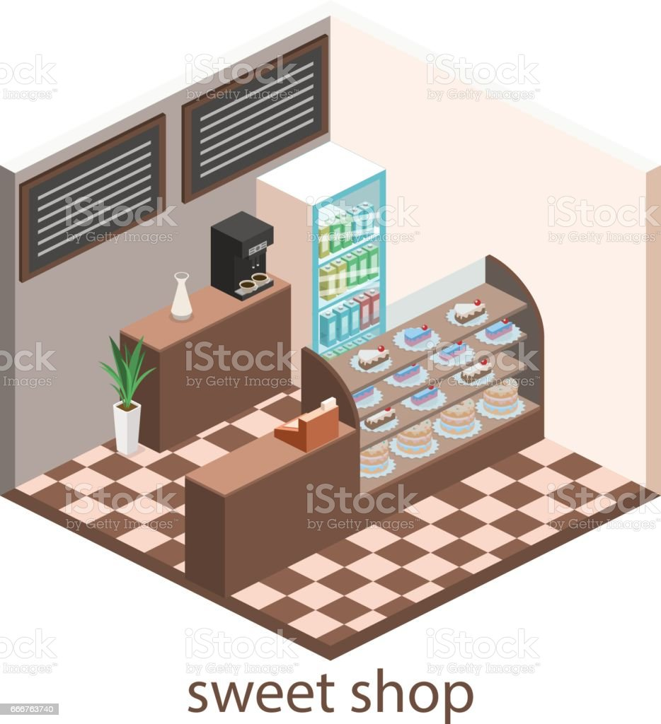 Isometric interior of sweet-shop. People sit at the table and eating. isometric interior of sweetshop people sit at the table and eating - immagini vettoriali stock e altre immagini di adulto royalty-free