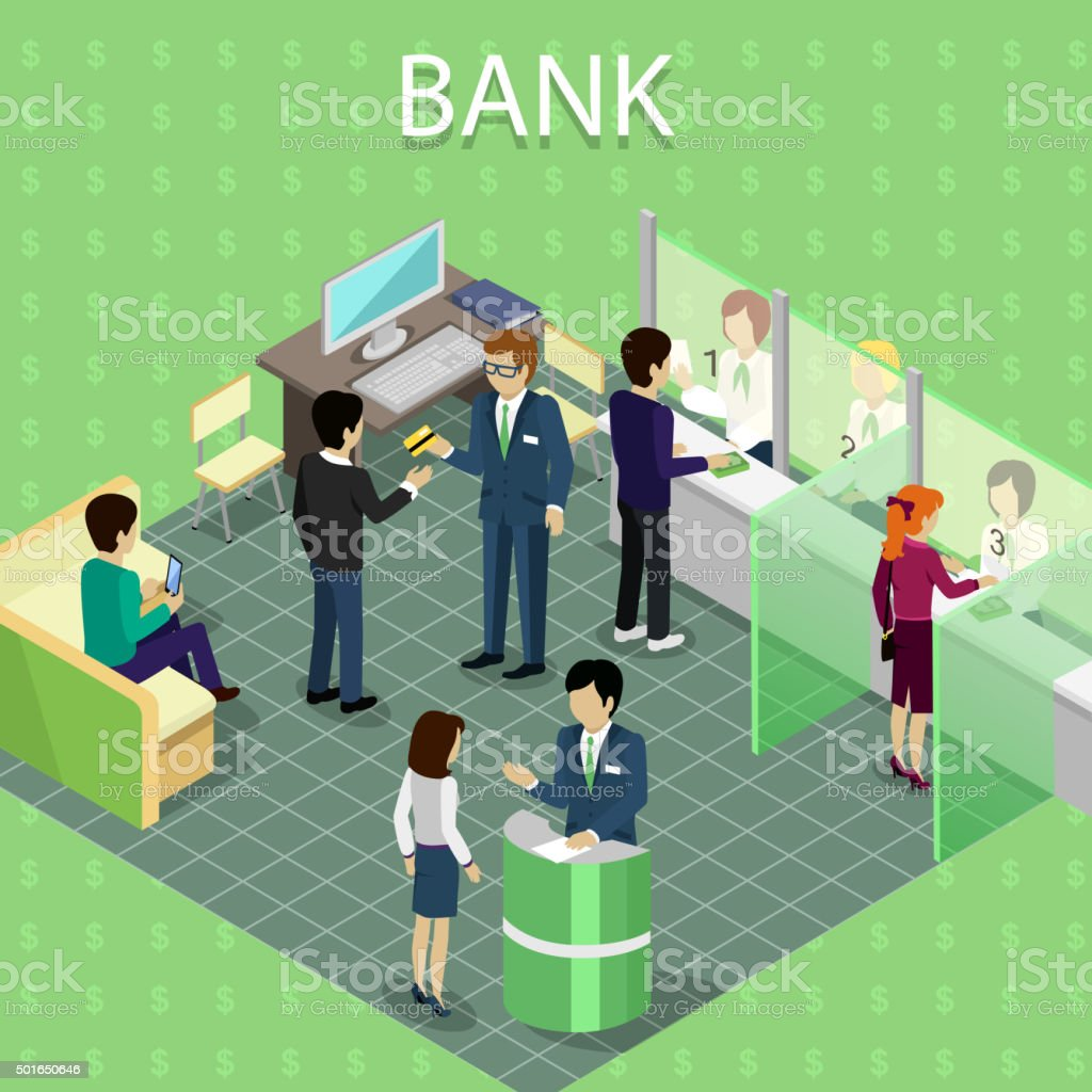 Isometric Interior of the Bank with People vektör sanat illüstrasyonu