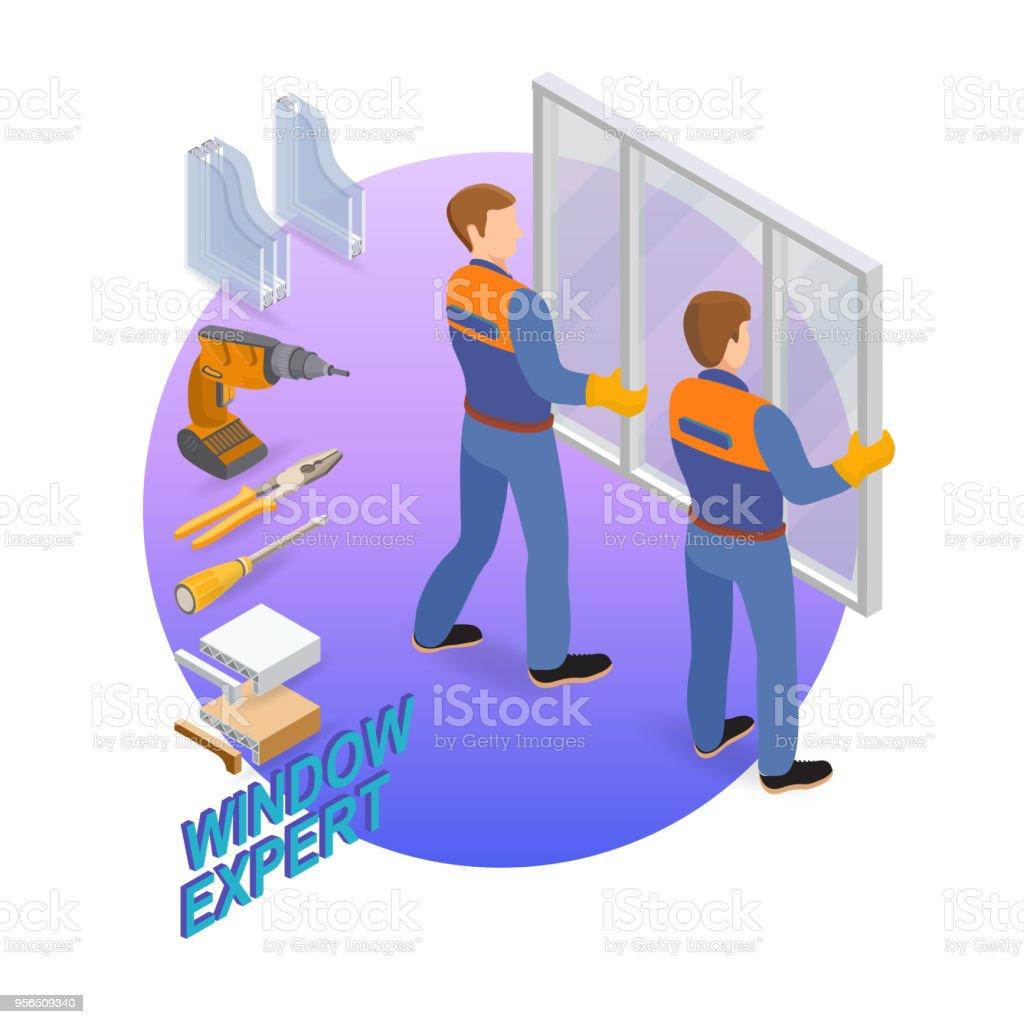 Isometrische Interieur Reparaturen Konzept. Die Arbeiter Installationsfenster. - Lizenzfrei Abstrakt Vektorgrafik