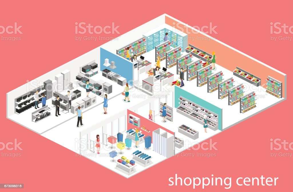 isometric interior shopping mall, grocery, computer, household, equipment store. vector art illustration