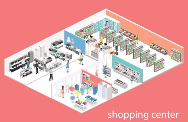 isométrique intérieur shopping mall, épicerie, informatique, maison, magasin de matériel. - Illustration vectorielle