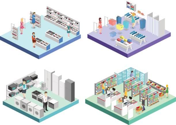 illustrazioni stock, clip art, cartoni animati e icone di tendenza di isometric interior shopping mall, grocery, computer, household, equipment store. - grocery home
