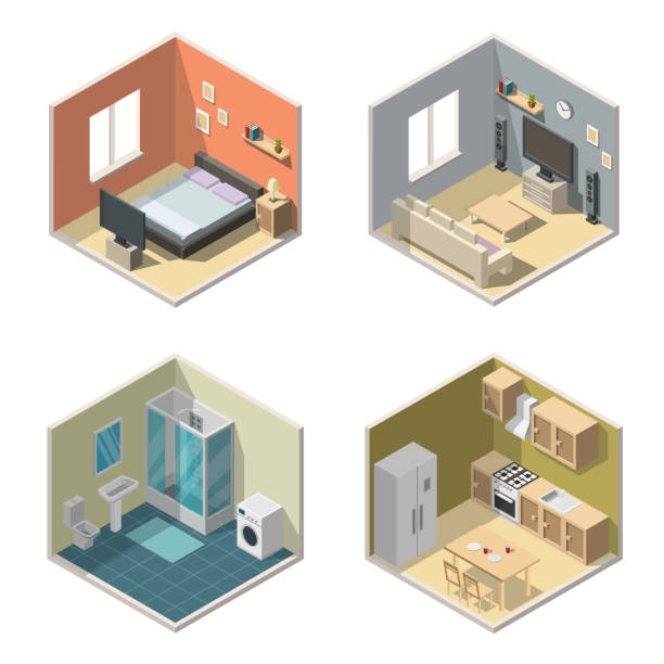 illustrazioni stock, clip art, cartoni animati e icone di tendenza di isometric interior vector illustration modern set of bathroom, kitchen, living room, bedroom. - kitchen situations