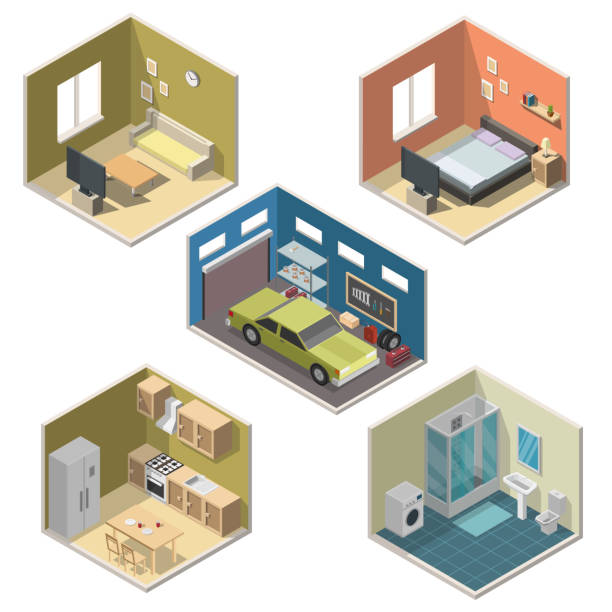 illustrazioni stock, clip art, cartoni animati e icone di tendenza di isometric interior vector illustration modern set of bathroom, kitchen, living room, bedroom, garage. - kitchen situations