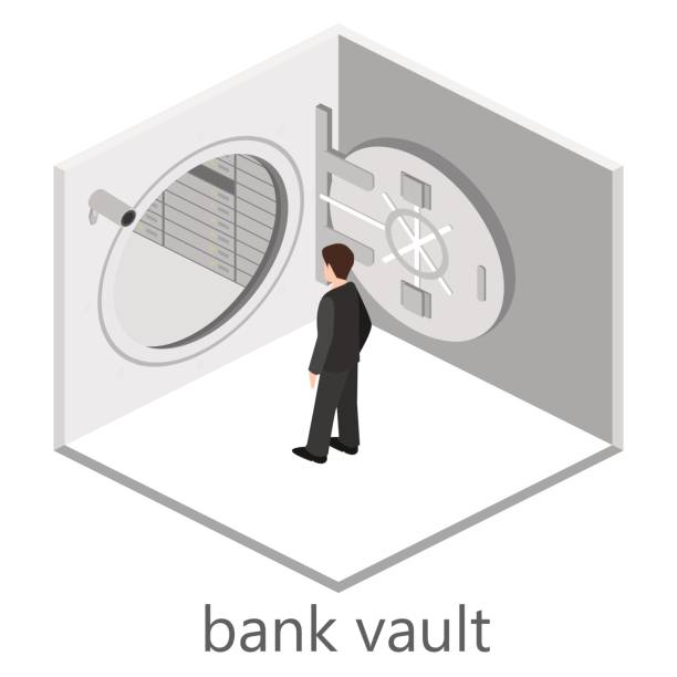 Isometric Interior With Open A Bank Vault And Businessman