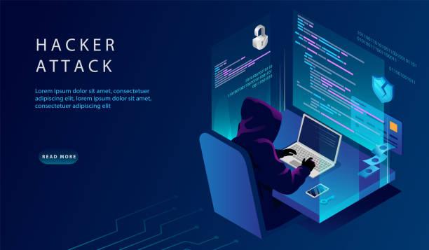 等軸測互聯網和個人數據駭客攻擊概念。網站著陸頁。駭客在電腦試圖破解安全。信用卡,銀行賬戶駭客。網頁向量插圖 - hacker 幅插畫檔、美工圖案、卡通及圖標