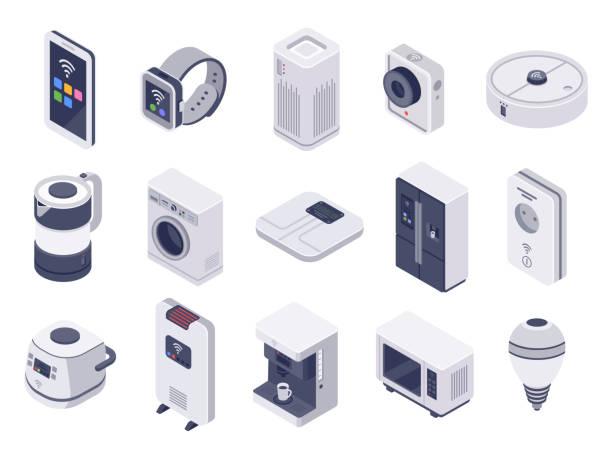 isometrisches internet der geräte. smarte uhr, haushaltsgeräte und drahtlos gesteuertes mikrowellen-3d-vektorabführset - haushaltsmaschine stock-grafiken, -clipart, -cartoons und -symbole
