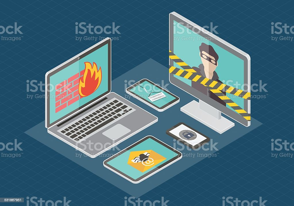 Isometric internet security vector vector art illustration