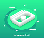 Investment credit isometric design concept with modern style gradients. Vector design elements useful for web banner or poster.
