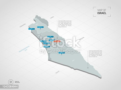 istock Isometric Israel map with city names and administrative divisions. 1042084944