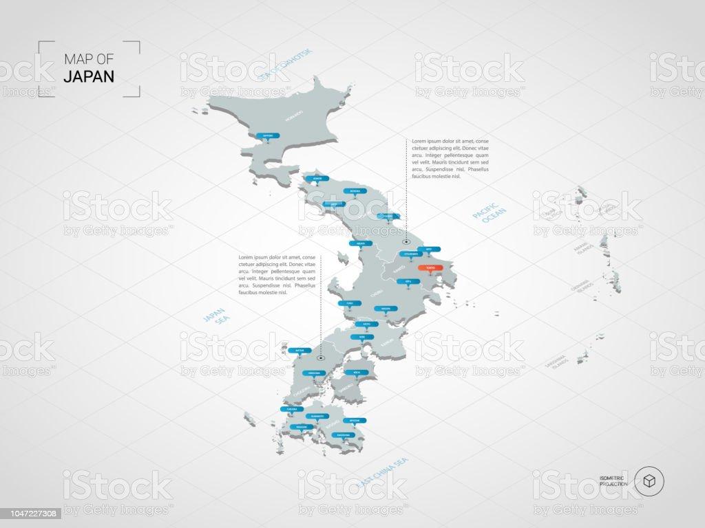 Mapa De Japon Ciudades.Ilustracion De Mapa De Japon Isometrica Con Nombres De