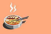 Isometric japanese ramen illustration, horizontal. Perfectly usable for all japanese food projects.