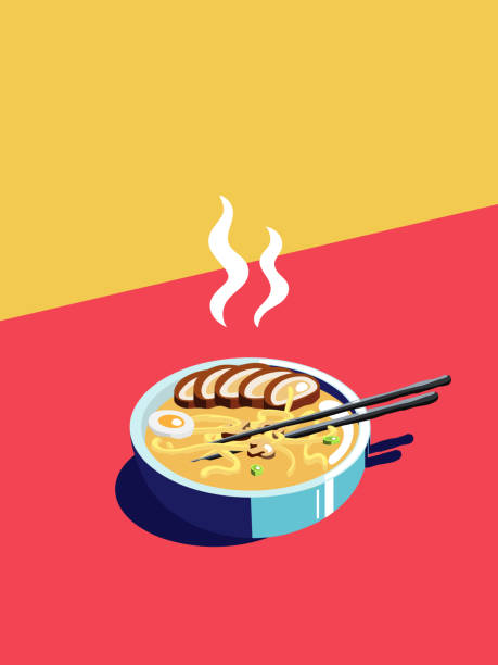 Isometric japanese ramen illustration vector art illustration