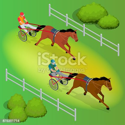 istock Isometric Jockey and horse. Two racing horses competing with each other. Race in harness with a sulky or racing bike. Vector illustration. 875351714