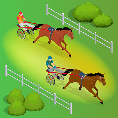 Isometric Jockey and horse. Two racing horses competing with each other. Race in harness with a sulky or racing bike. Vector illustration.