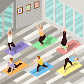 Isometric background with people doing yoga on colorful carpets in spacious fitness studio 3d vector illustration