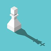 Isometric white pawn casting king shadow. Ambition, dream, strength, transformation and motivation concept. Flat design. EPS 8 compatible vector illustration, no transparency, no gradients