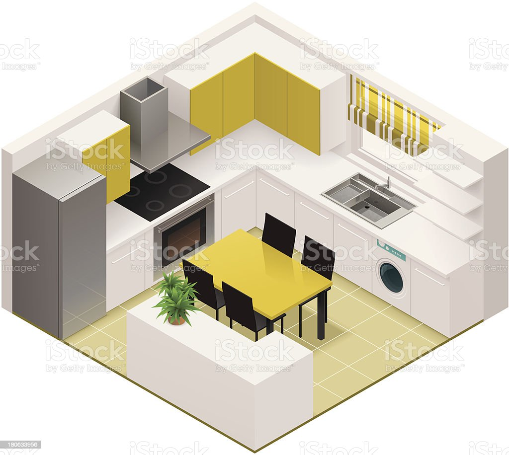 Isometric kitchen icon vector art illustration