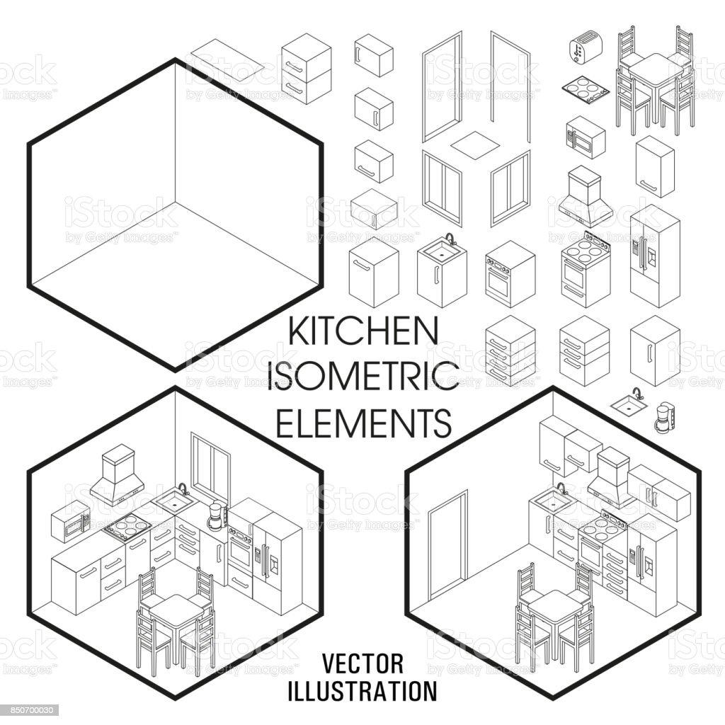 Isometrische keuken interieur constructor. Vector set isometrische meubilair elementen van home interieur geïsoleerd op witte achtergrond. Platte 3d ontwerpsjabloon - Royalty-free 3D-bril vectorkunst