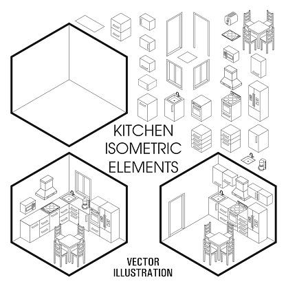 Isometrische Keuken Interieur Constructor Vector Set Isometrische Meubilair Elementen Van Home Interieur Geïsoleerd Op Witte Achtergrond Platte 3d Ontwerpsjabloon Stockvectorkunst en meer beelden van 3D-bril