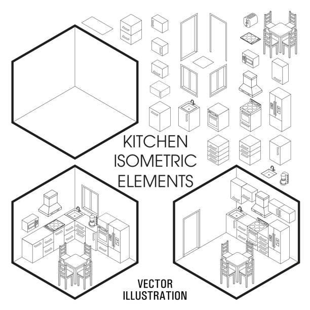 Isometric kitchen interior constructor. Vector set of isometric Furniture elements of home interior isolated on white background. Flat 3d design template Isometric kitchen interior constructor. Vector set of isometric Furniture elements of home interior isolated on white background. Flat 3d design template. interior designer stock illustrations