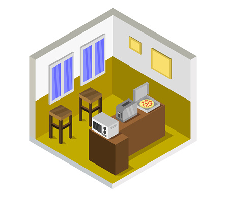 Isometric Kitchen Room On A White Background Vector Graphic Illustration