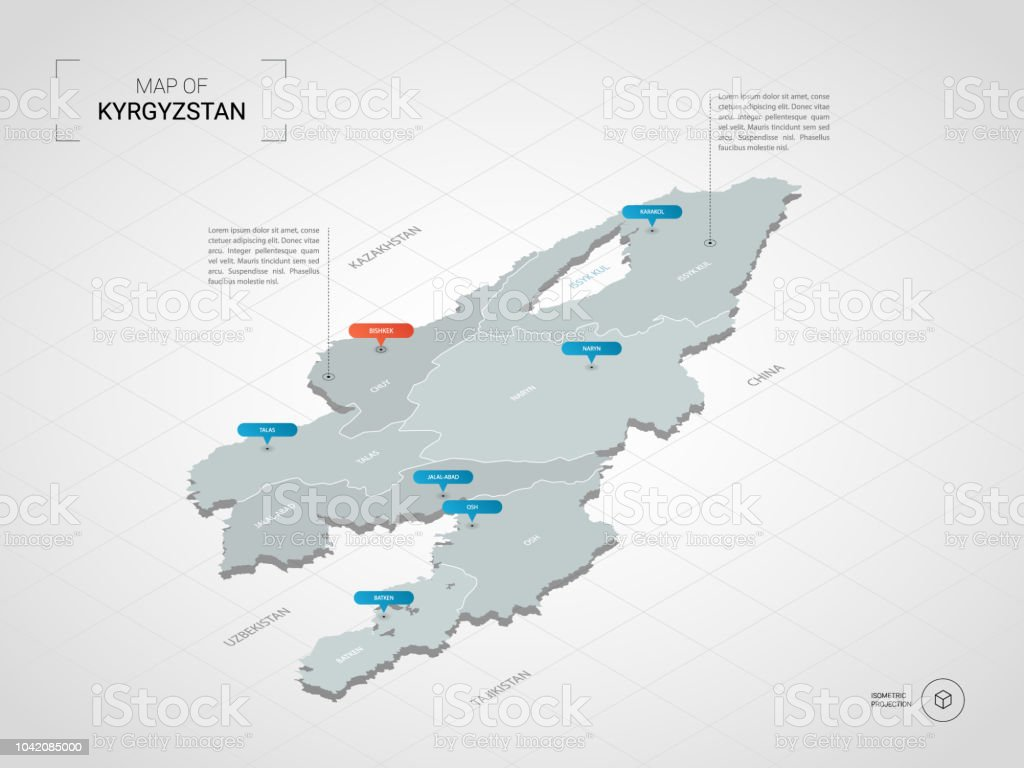 Isometric Kyrgyzstan Map With City Names And Administrative Divisions Stock  Illustration - Download Image Now