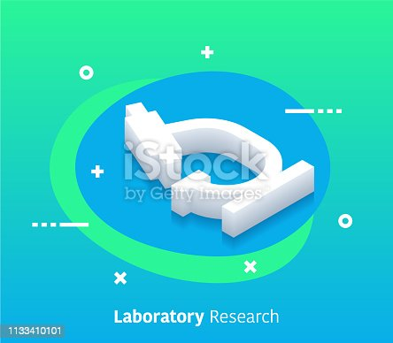 Laboratory research isometric design concept with modern style gradients. Vector design elements useful for web banner or poster.