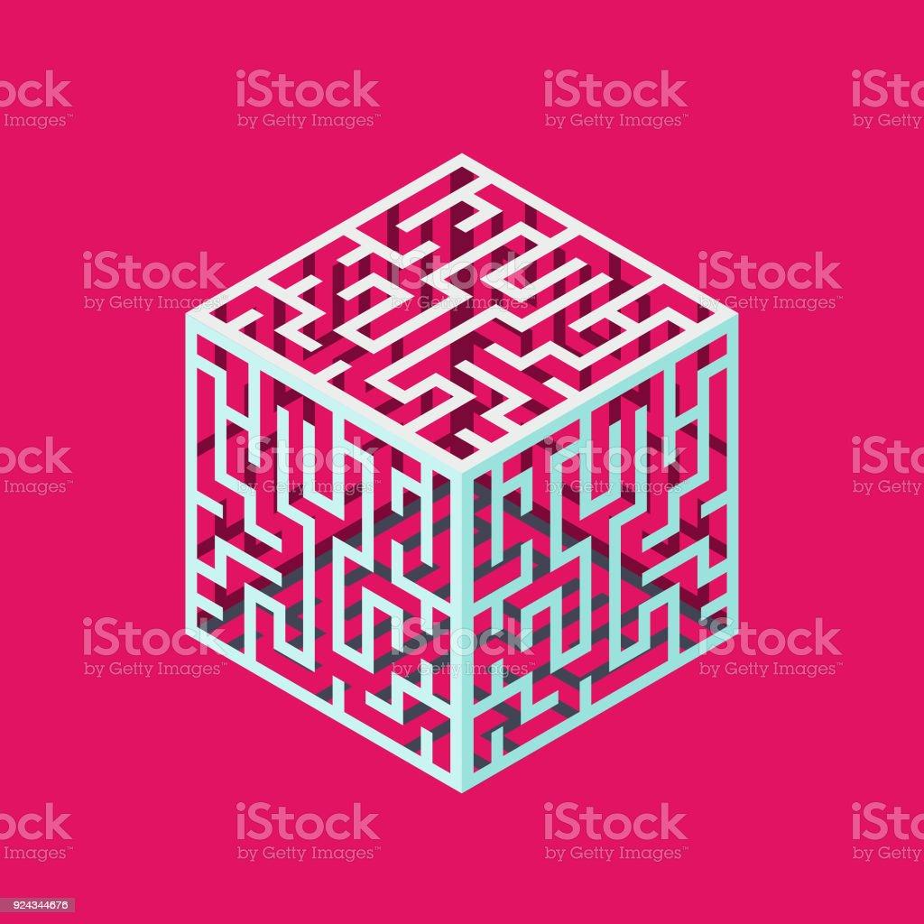 Ilustración de Cubo Laberinto Isométrica Para Logotipo Concepto De ...