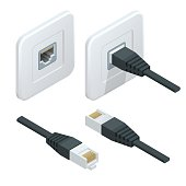 Isometric LAN cable network internet