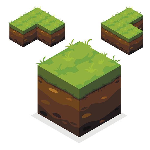 isometrische landschaft cube land und gras - gartenskulpturkunst stock-grafiken, -clipart, -cartoons und -symbole