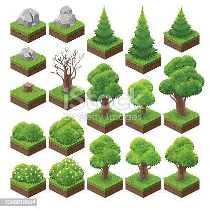 A set of isometric landscape game asset.